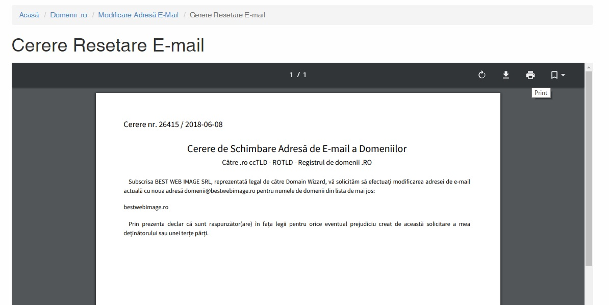 email cerere schimbare email
